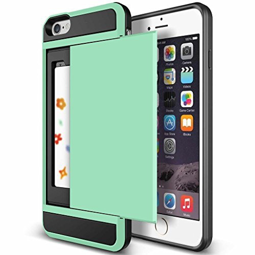 Elephant Stitch (iPhone 6S Plus Case, KAMII Glide Pocket Stash iPhone 6 Plus Card Case For iPhone 6/6S [Shock Absorbent] with Cushion [Dual Layer Design] [Heavy Duty][Wallet] Slot Holder (Aqua))