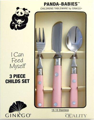 Ginkgo International Panda Babies 3-Piece Stainless Steel Childs Flatware Set, Light Pink