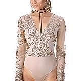 SEAWEED Women's Sheer Sequin Long Sleeve Bodysuit V Neck Shirt Thong Leotard Romper