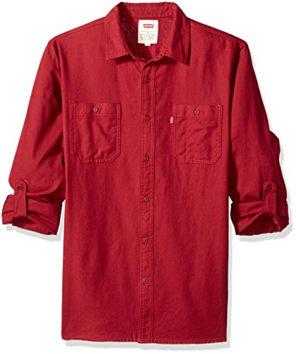 Levi's Men's Chalk Cotton Button Down Shirt, Warm Cabernet, Large - Levis Long Shirt