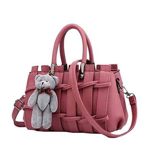 Moda Bolso Mujer Crossbody Bolso Tipo de rejilla de cuero de la PU de la manera Adornos de muñeca de oso bolso nuevo estilo de la Negro Rosa 2