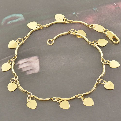Lovely Womens Wristband 14K Real Gold Filled Heart Lot Chain Link Bracelet (Chains For Women 14k Gold)