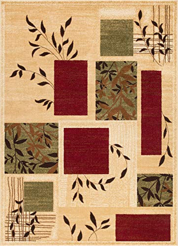 Burgundy Ivory Rug - Well Woven Great Forest Ivory Floral Nature Modern Formal Area Rug 3x5 4x6 (3'11