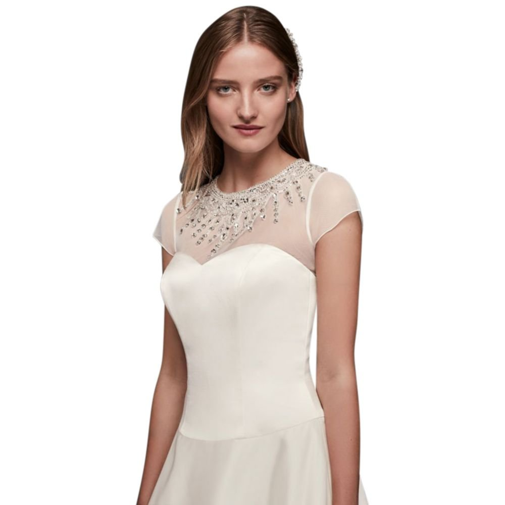 David's Bridal Deco Beaded Dress Topper Style OW1015, Ivory, 14