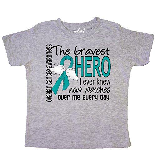 inktastic - Ovarian Cancer Bravest Hero I Toddler T-Shirt 2T Heather Grey 30742 ()