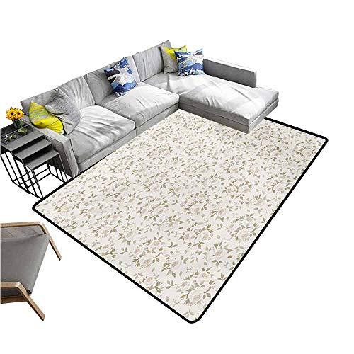 Floor Mats for Living Room Ivory,Flourished Rose Flower Blossoms and Petals Motif Essence Nature Classic Design,Coconut Beige 60
