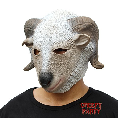 CreepyParty Deluxe Novelty Halloween Costume Party Latex Animal Head Mask Goat White]()