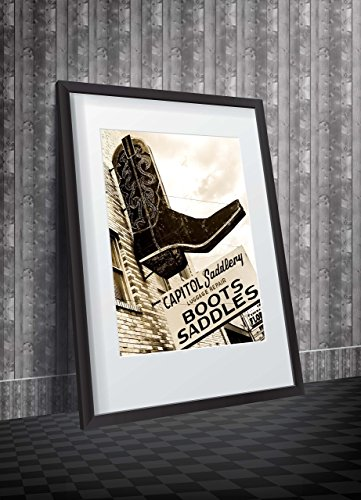 Texas Boots & Saddles - Photographic Art of an iconic sign depicting a black cowboy boot.