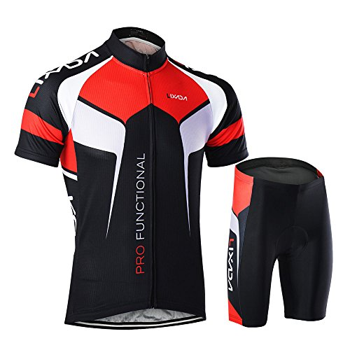 Lixada Men's Cycling Jersey Set Bicycle Short Sleeve Set Quick-Dry Breathable Shirt+3D Cushion Shorts Padded Pants