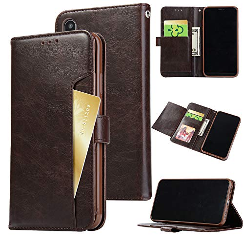 iPhone Xs Max Case, iPhone Xs Max Wallet Case,FLYEE Slim Folio Book Cover PU Leather Magnetic Protective Cover with Credit Card Slots, Cash Pocket, Stand Holder for iPhone Xs Max 6.5 inch Brown