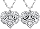 Funny Best Friends Necklace Gifts for 2 - Two Piece Matching Set'Thelma and Louise' Silver Tone Heart Necklaces, Jewelry for Friendship, BFF, Besties, Soul Sisters, Gag Gift, Novelty Presents