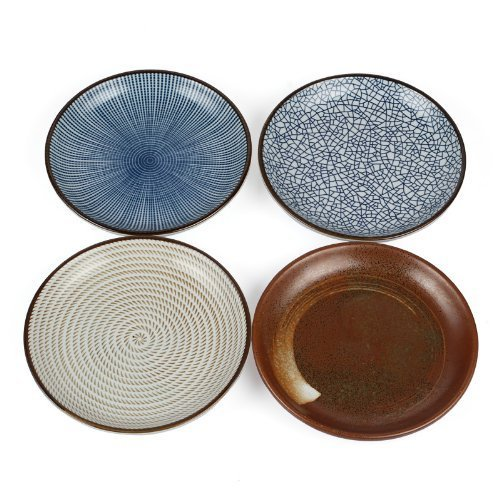 LAGUTE Porcelain Dinnerware Plate Set of 4 pack Japanese Zen Style Dipping Sauce Dishes, for Appetizer, Dessert, Salad, Snack, Sushi, Fruit, Bread (Ice Cracks, Medium 3.8