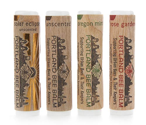 Portland Bee Balm All Natural Handmade Beeswax Based Lip Balm Assortment 4 Tube Pack