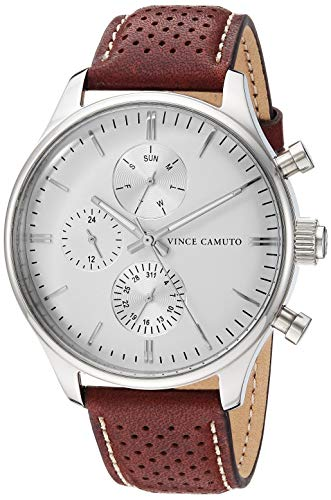 Vince Camuto Men's VC/1101WTBN Multi-Function Silver-Tone and Brown Leather Strap - Leather Tone Brown