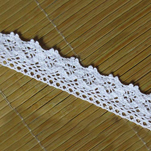 - 10 Yard Cotton Crochet Cluny Lace Edge Trim Ribbon 2.5 cm Width Vintage Black White Ivory Cream Edging Trimmings Fabric Embroidered Applique Sewing Craft Wedding Bridal Dress Clothes DIY (White)