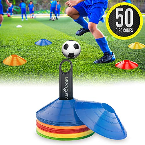Disc Cone Set of 50 Flexible Multi Color (Red, Blue, Yellow, Green, Orange) Cones, With Plastic Carrier To Take It With You Everywhere - Perfect For Soccer, Football & Any Ball Game To Mark (Drills Practice Team)