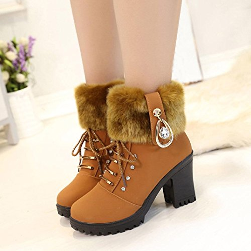 Hatop Women Boots, Womens Winter Solid Plush Laarzen Martin High Heels Platform Boots Brown