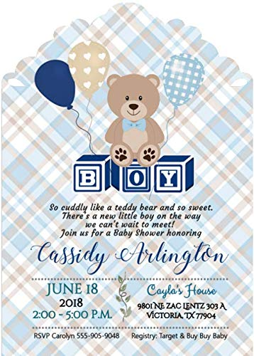 Personalized Teddy Bear Plaid Boy Baby Shower Invitations Set of 20