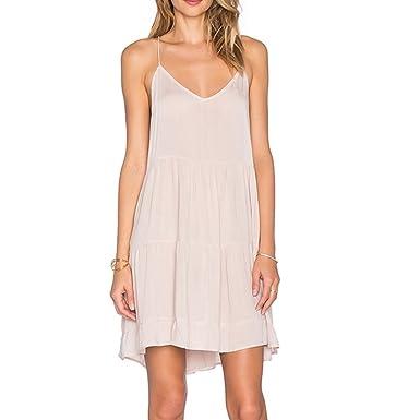 1e175c0125b Womens Summer Long Dress Casual Sleeveless Beach Backless Flesh Mini Dresses  Cotton Slip Dress  Amazon.co.uk  Clothing