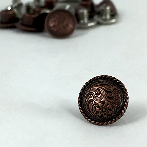 Springfield Leather Company Antique Copper Plate Decorative Floral Rope Edge Screw Post/Concho 10pk