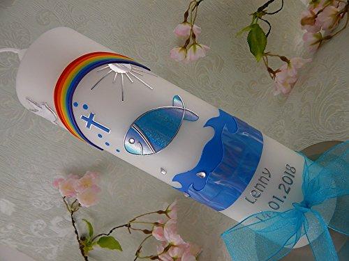 Taufkerze Kommunionkerze Fisch blau silber Taufkerzen handverziert Junge M/ädchen 250//70 mm mit Name und Datum