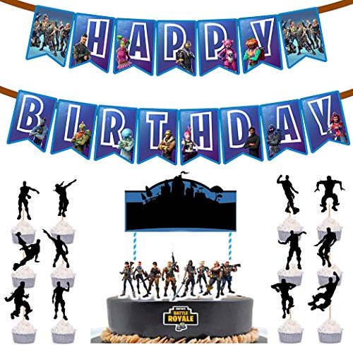 Gaming Happy Birthday Party Banner Cake Topper For Supplies And Toppers