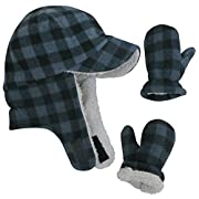 N'Ice Caps Boy Sherpa Lined Fleece Brim Flap Hat and Mitten Set (6-18 Months, Navy Infant)