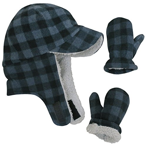 N'Ice Caps Little Boys and Baby Sherpa Lined Fleece Flap Hat Mitten Winter Set (2-3 Years, Charcoal Gray Buffalo Plaid)