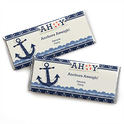 Custom Ahoy - Nautical - Personalized Baby Shower or Birthday Party Favors Candy Bar Wrappers - Set of 24 ()