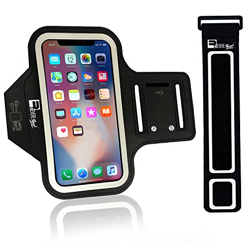 (Revere Sport iPhone X/XS Running Armband (Face Recognition Access). Sports Phone Holder Case for Jogging, Gym Workouts & Exercise (Small - Large Arms))