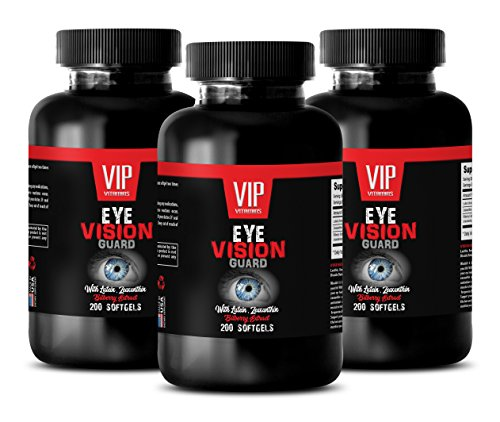 supplements for eye health - EYE VISION GUARD - WITH LUTEIN, ZEAXANTHIN AND BILBERRY EXTRACT - bilberry zeaxanthin - 3 Bottles 600 Softgels by VIP Supplements