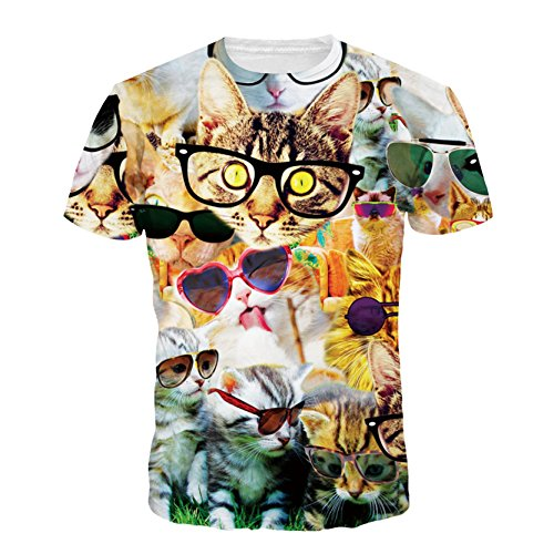 Boys Girls Cat Wearing Glasses Cute Cartoon 3D Top Tee Shirt Cat 01 - Wearing 3d Glasses Glasses With
