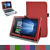 "Acer One 10 S1002 Case,Mama Mouth PU Leather Folio Stand Cover for 10.1"" Acer One 10 S1002 Detachable 2-in-1 Laptop/Tablet,Red"