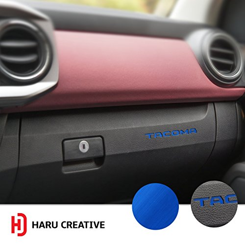 Haru Creative - Glove Box Dashboard Letter Insert Decal Compatible with and Fits Toyota Tacoma 2016 2017 2018 - Metallic Brushed Aluminum Satin Chrome (Blue Dash Overlay)