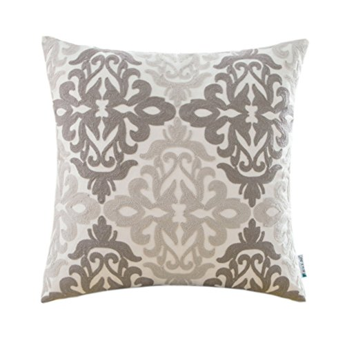 HWY 50 Couch Pillows Covers 18 x 18 inch, 1 Piece Cotton Canvas Embroidered Home Decorative Grey Geometric Throw Pillows Cases For Sofa/Bed Euro Farmhouse Cushion Covers, Gray Decor Floral (Decorate Your Living Room Halloween)