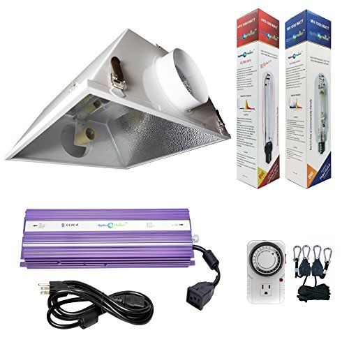 Hydroplanet™ 1000W Horticulture Air Cooled Hood Set Grow Lights Reflector Digital Dimmable Ballast HPS MH System For Plant Grow Light Kit (1000w) (Mercury Ballast Kits)
