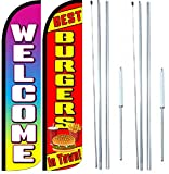 Best Burgers In Town Welcome King Windless Flag Sign With Complete Hybrid Pole set - Pack of 2