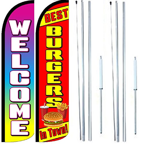 Best Burgers In Town Welcome King Windless Flag Sign With Complete Hybrid Pole set - Pack of 2 by OnPoint Wares