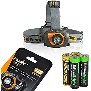 Fenix HL30 2015 ver. 230 Lumen LED Headlamp-Gold Color with 2 X EdisonBright AA Alkaline batteries