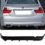 Rear Bumper Lip Fits 2005-2012 BMW E90 3-Series   AS-S Style Black PU Rear Lip Finisher Under Chin Spoiler Underspoiler Splitter Valance Underbody Bumper Fascia Add On by IKON MOTORSPORTS   2006 2007