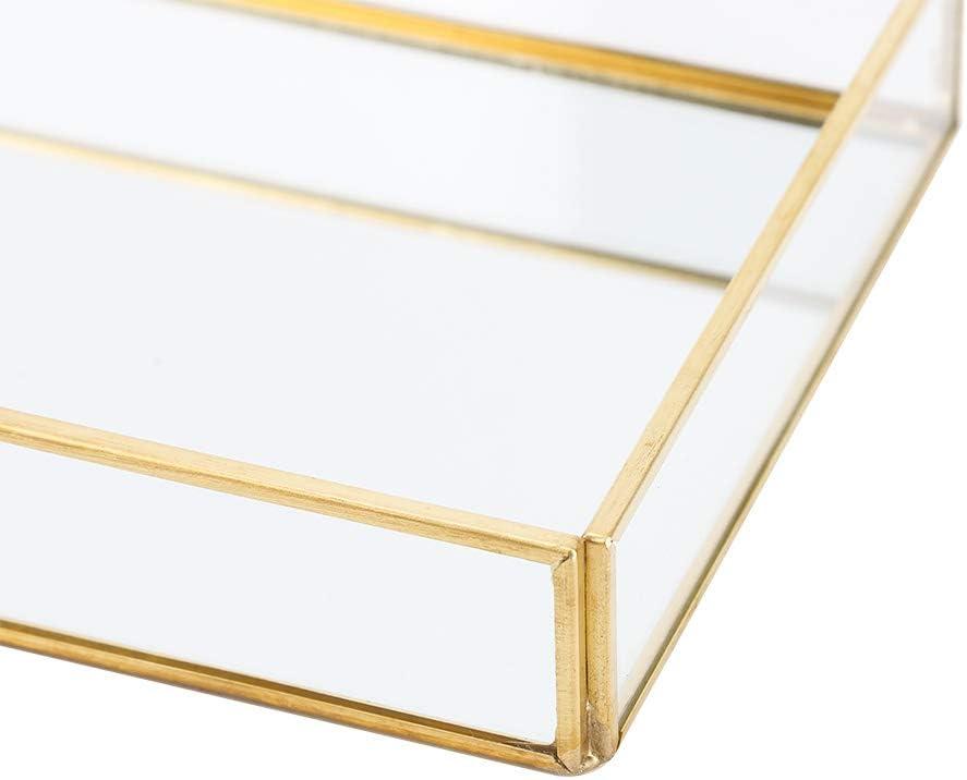 M Kosmetik Aufbewahrungsbox Vintage Makeup Cases Metall Schmuck Tablett Glas Aufbewahrungsbox Gold Tablett Kosmetik Display Boxen