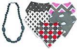 Image of Girls Bandana Bibs 5-Pack & Silicone Teething Necklace Baby Shower Gift Set by The Spunky Baby