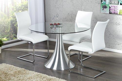 Stilvoller Esstisch CIRCULAR Glas Metall 110cm