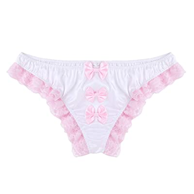 zdhoor Men's Satin Lace Frilly Sissy Panties Lingerie Ruffle Bowknot French Maid Crossdress Underwear at Amazon Men's Clothing store