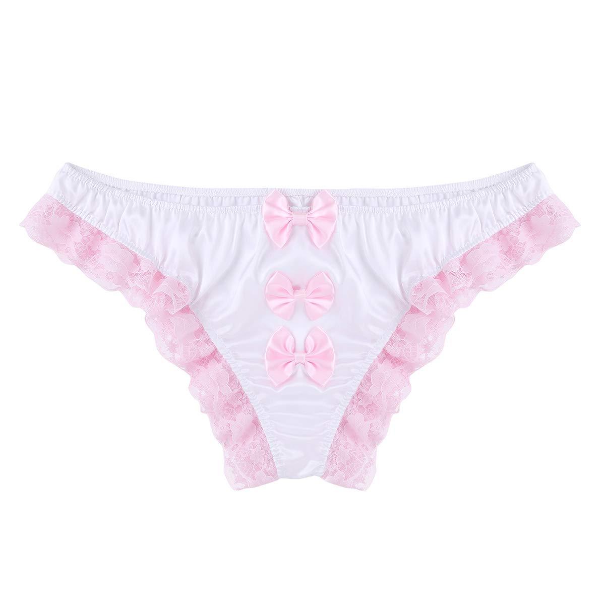 466d8fa8fd89 Agoky Mens Satin Ruffles Floral Lace Sissy Pouch Bikini Briefs Underwear  Crossdress Panties: Amazon.co.uk: Clothing