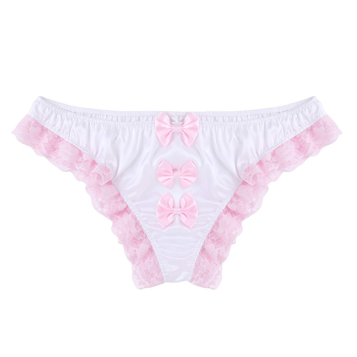 ACSUSS Mens Sissy Floral Lace Back with Big Bowknot Bikini Briefs Thong Underwear