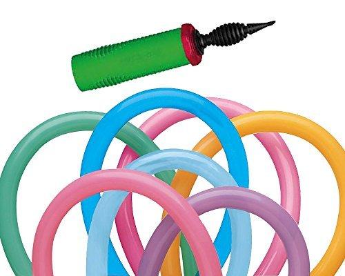 t AQualatex 260Q Vibrant Assortment Biodegradable Latex Balloons (100-Units) with 1 Dual Action Inflator Pump (Nozzle Assortment)