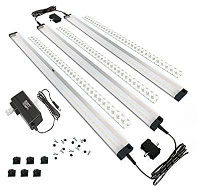 EShine® 3 Extra Long Panels LED Under Cabinet Lighting, with IR Sensor! Easy to Install - Hand Wave Activated - 20inch Panels - Screws and 3M Sticker Options Included