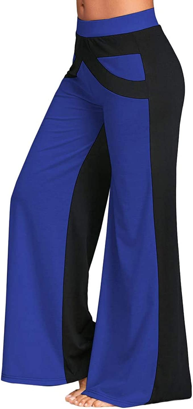 Colmkley Womens Palazzo Pants, Patchwork Flare Trousers Wide Leg Yoga Sweatpants
