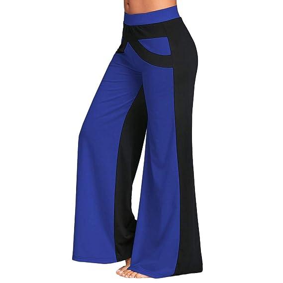 Color Sólido Sueltos Casual Remiendo Mujer Pantalones Yoga Mujeres Fitness  Pilates Pantalones Falda de Pierna Ancha Yoga Mujer Pantalones Deportivos  Largos ... d5d32029bb8